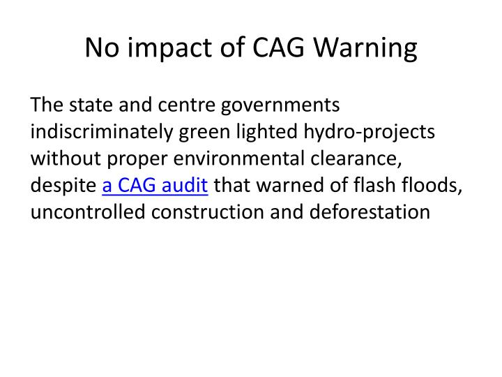 No impact of CAG Warning