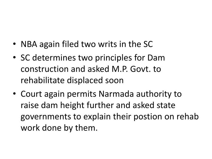 NBA again filed two writs in the SC
