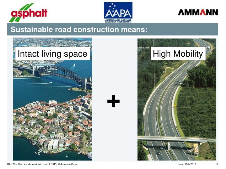 Sustainable road construction means