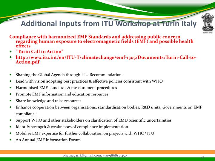 Additional Inputs from ITU Workshop at Turin Italy