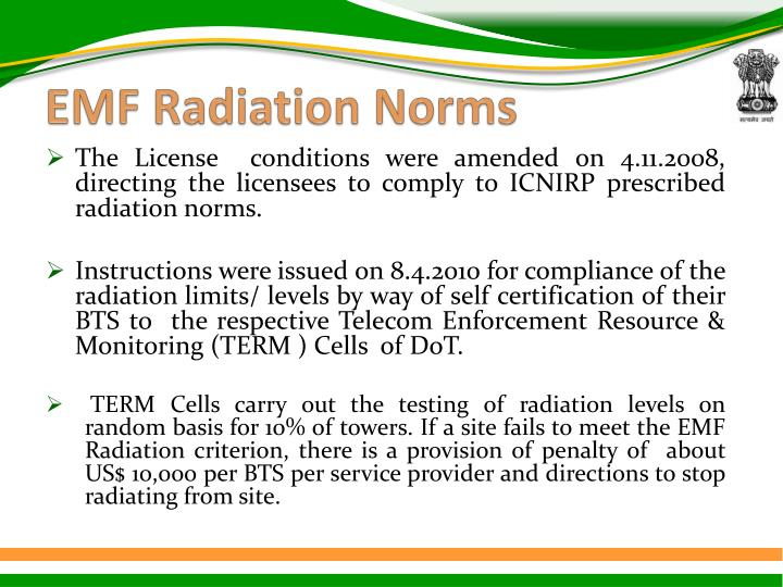 EMF Radiation Norms