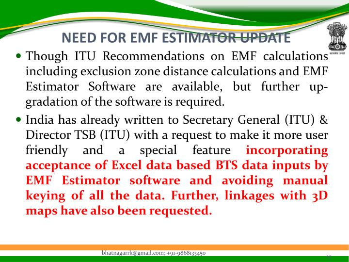 NEED FOR EMF ESTIMATOR UPDATE