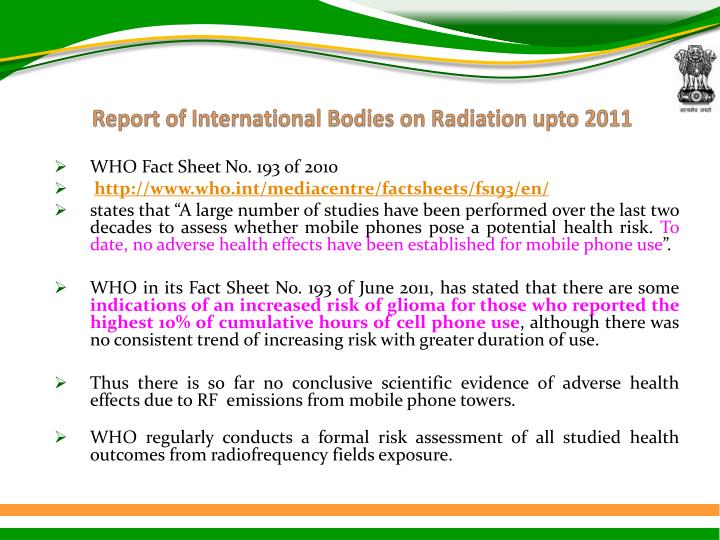 Report of International Bodies on Radiation
