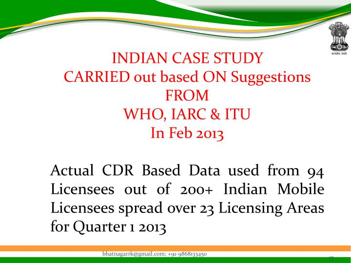 INDIAN CASE STUDY