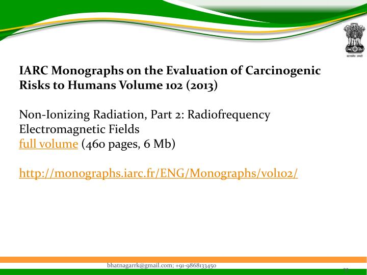 IARC Monographs on the Evaluation of Carcinogenic Risks to Humans Volume 102 (2013)