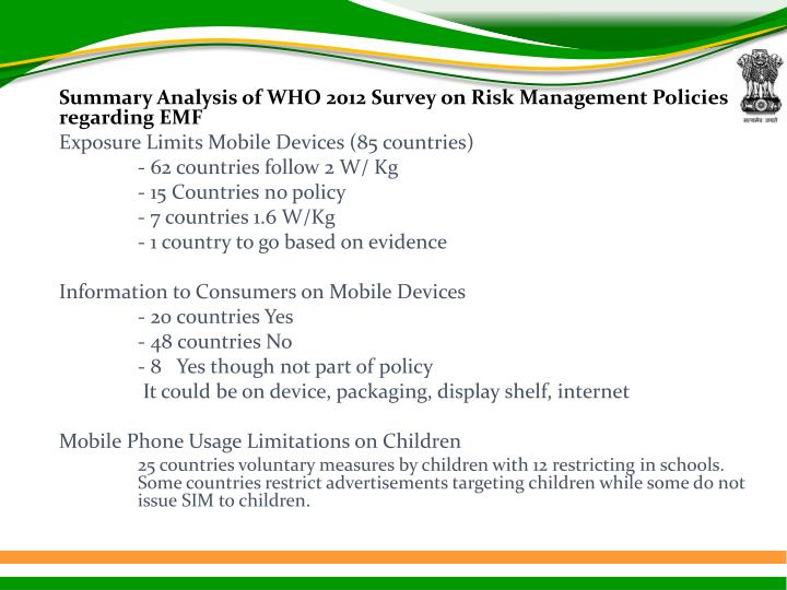 Summary Analysis of WHO 2012 Survey on Risk Management Policies regarding EMF