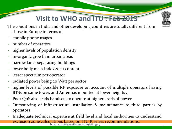 Visit to WHO and ITU : Feb 2013