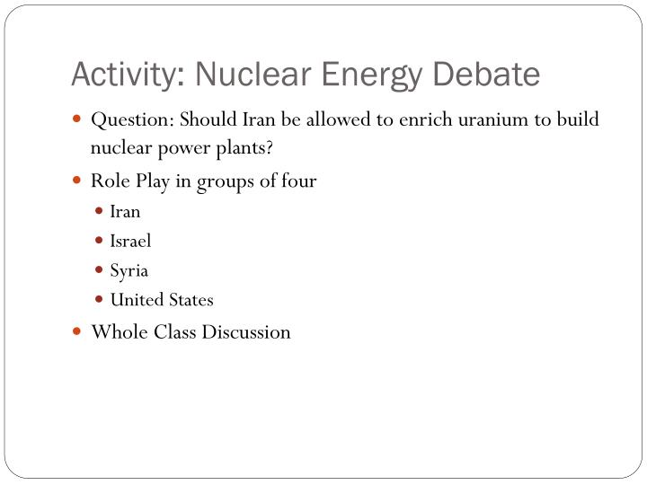 Activity: Nuclear Energy Debate