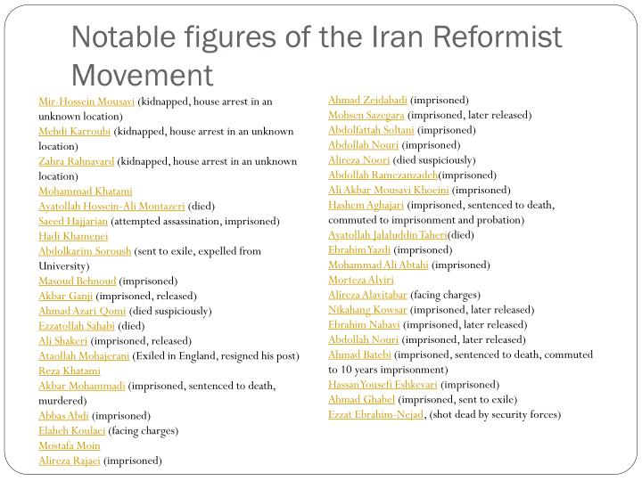 Notable figures of the Iran Reformist Movement