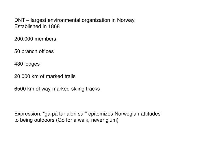 DNT – largest environmental organization in Norway.