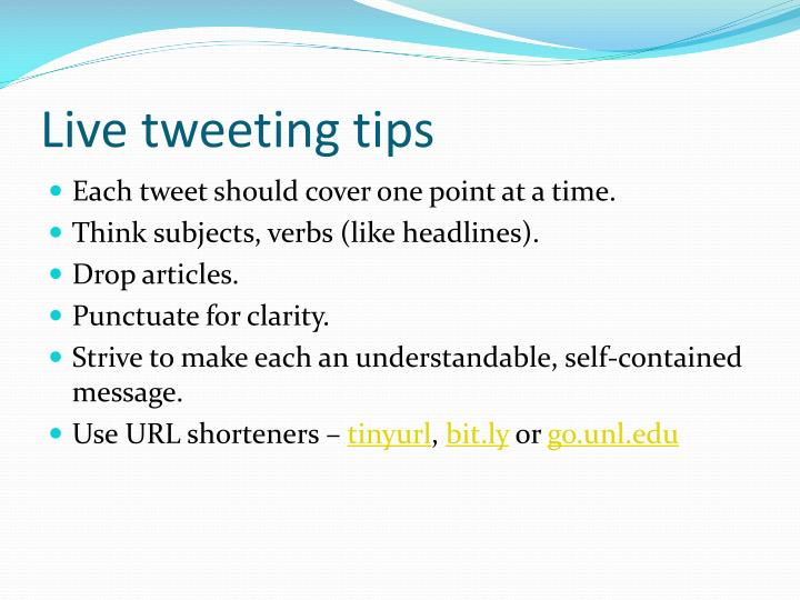 Live tweeting tips
