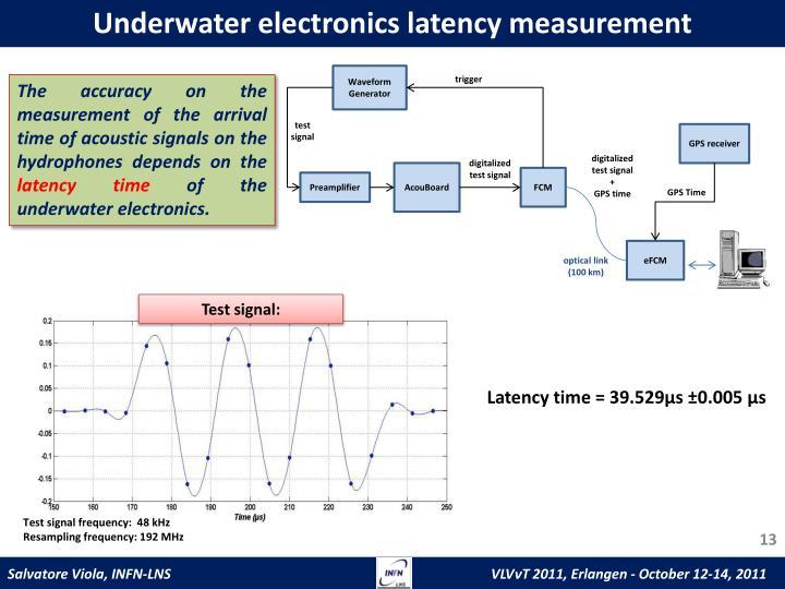 Underwater electronics latency measurement