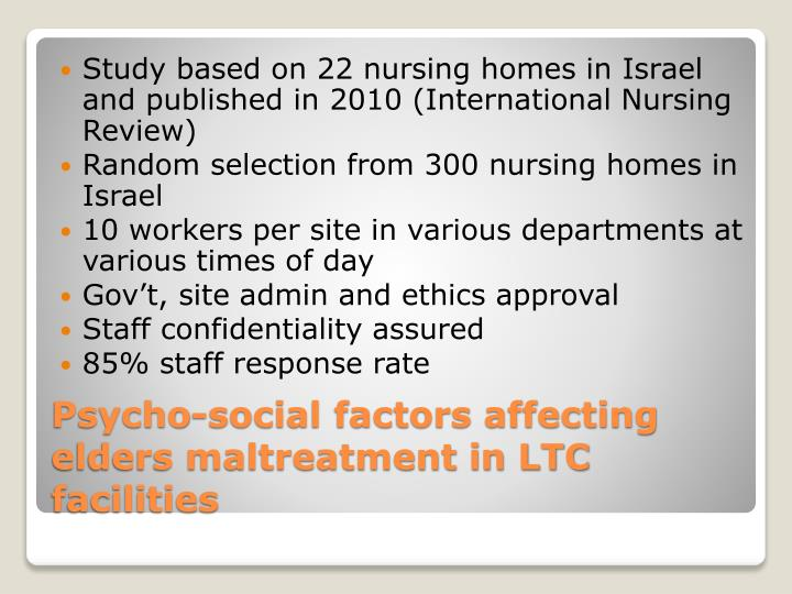 Study based on 22 nursing homes in Israel and published in 2010 (International Nursing Review)