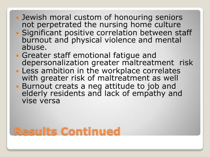 Jewish moral custom of honouring seniors not perpetrated the nursing home culture