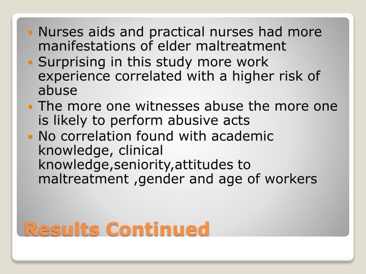 Nurses aids and practical nurses had more  manifestations of elder maltreatment