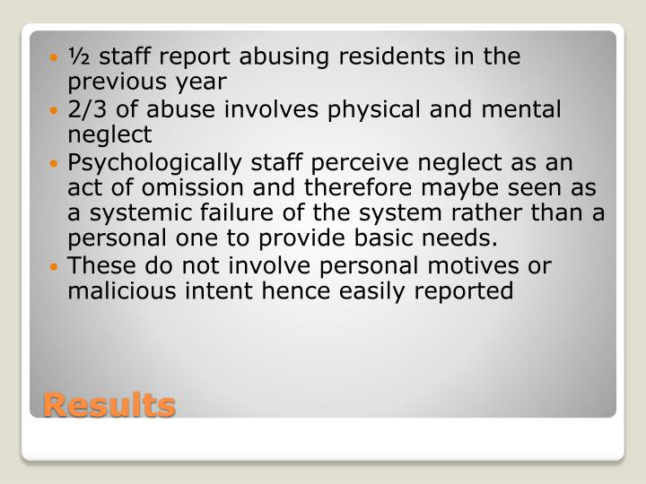 ½ staff report abusing residents in the previous year