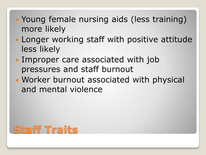 Young female nursing aids (less training) more likely