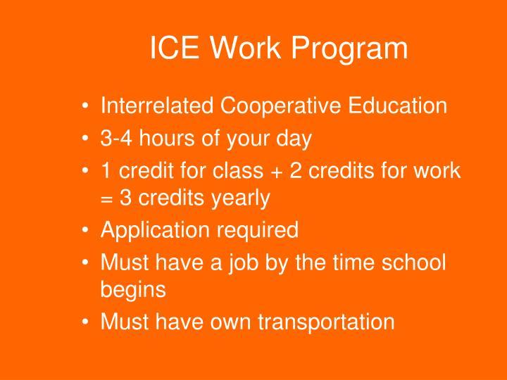 ICE Work Program