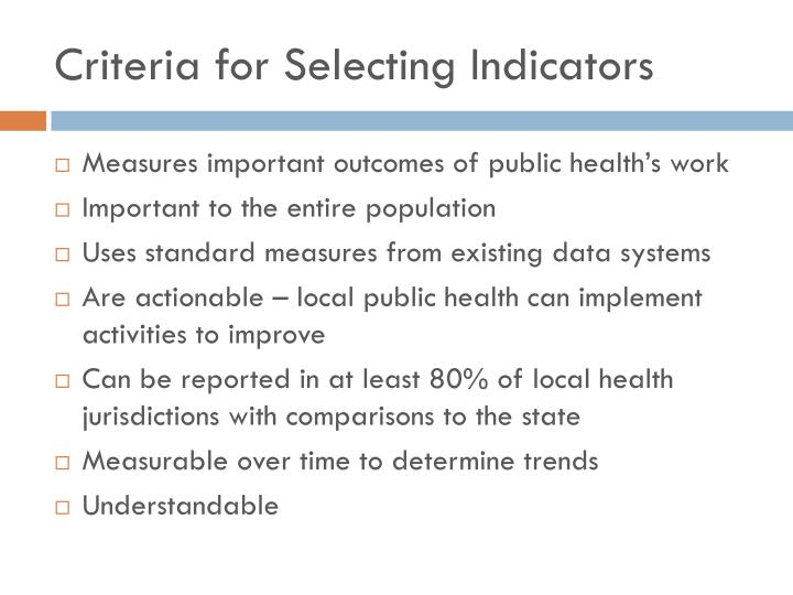 Criteria for selecting indicators