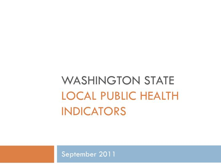 Washington state local public health indicators
