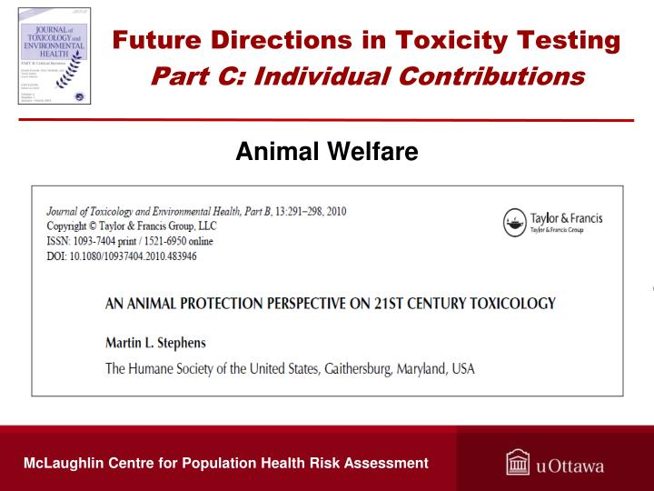 Future Directions in Toxicity Testing
