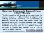 human and environmental exposure science in the 21 st century