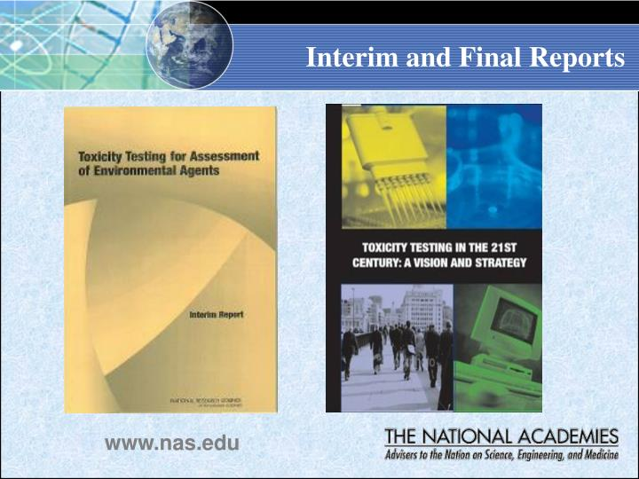 Interim and Final Reports