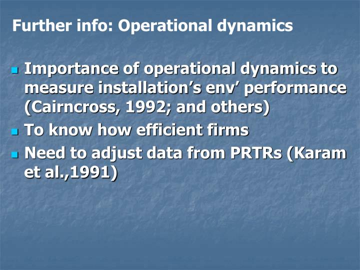 Further info: Operational dynamics