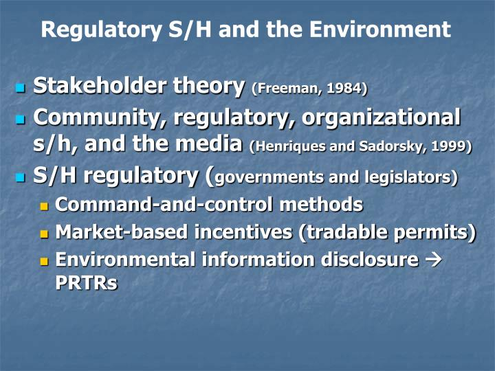 Regulatory S/H and the Environment