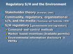 regulatory s h and the environment