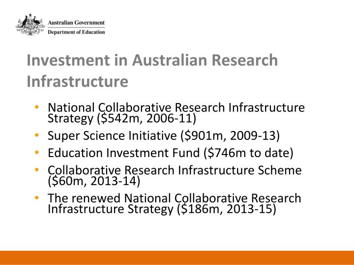 Investment in Australian Research Infrastructure