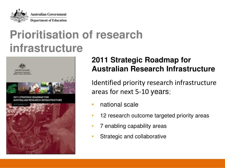 Prioritisation of research infrastructure