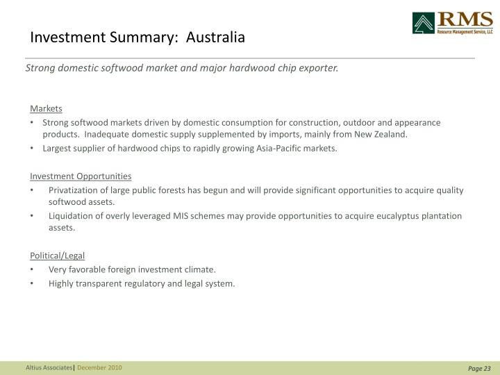 Investment Summary:  Australia