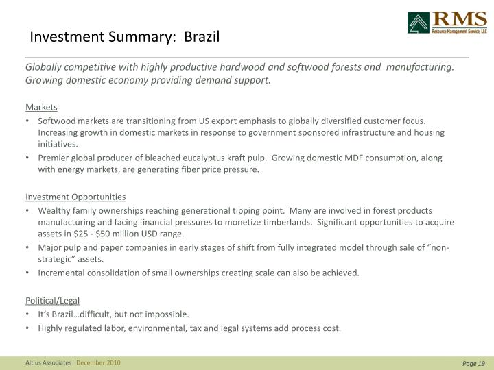 Investment Summary:  Brazil