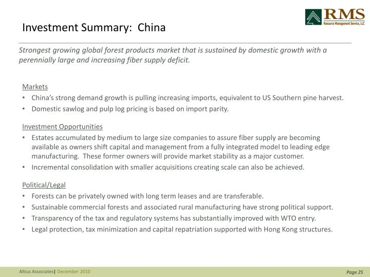 Investment Summary:  China