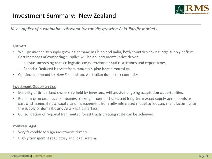 Investment Summary:  New Zealand