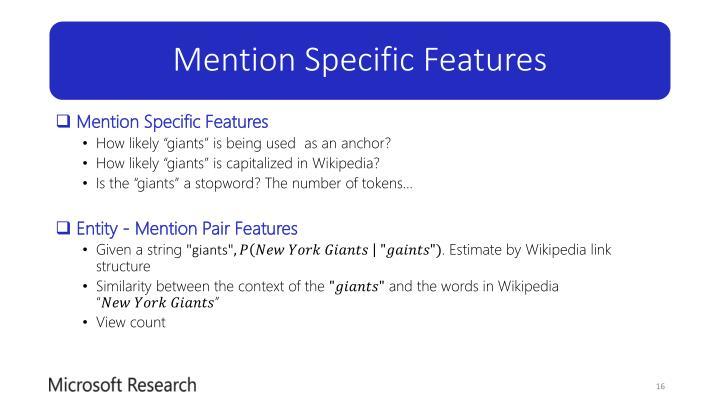 Mention Specific Features