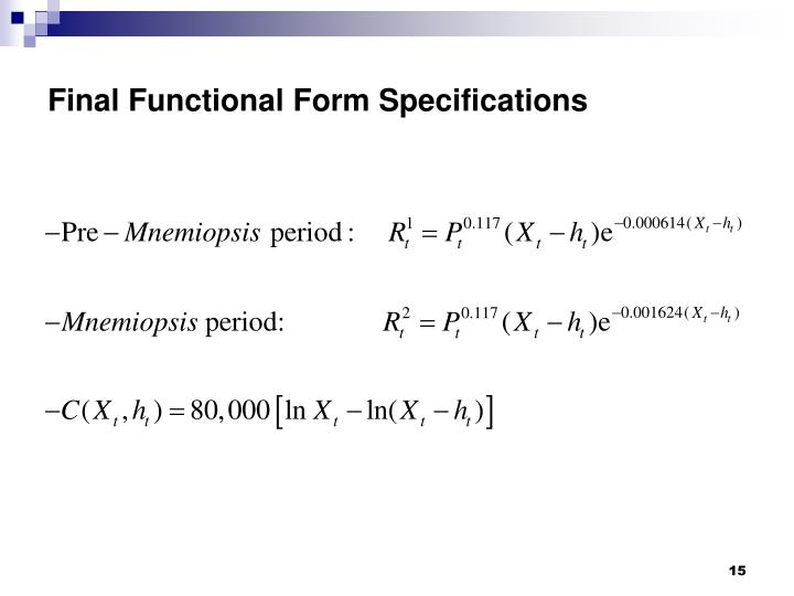 Final Functional Form Specifications