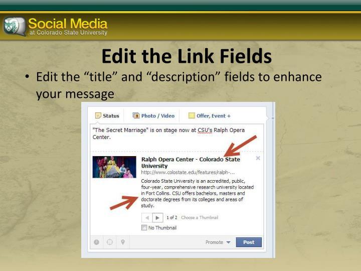 Edit the Link Fields
