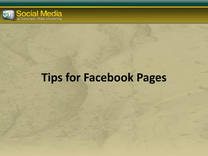 Tips for Facebook Pages
