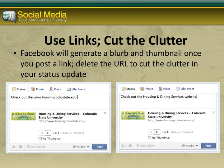 Use Links; Cut the Clutter