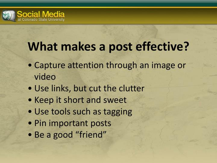 What makes a post effective?