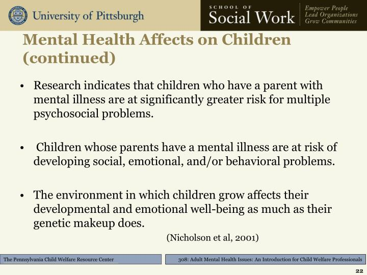 Mental Health Affects on Children (continued)
