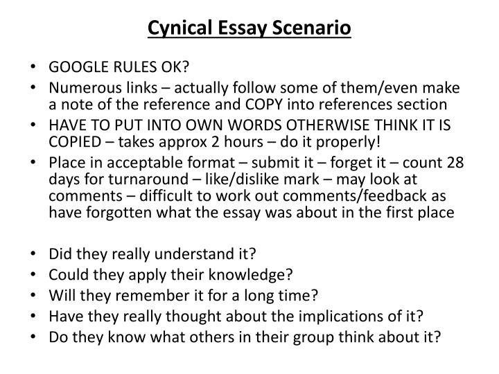 Cynical Essay Scenario