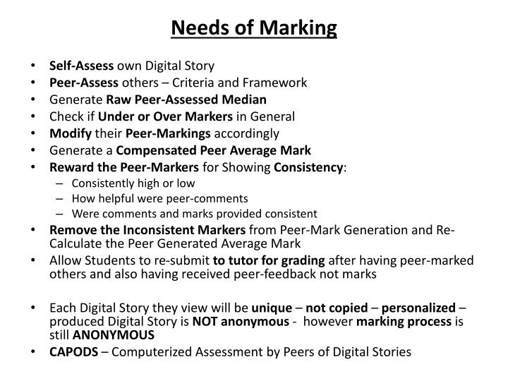 Needs of Marking