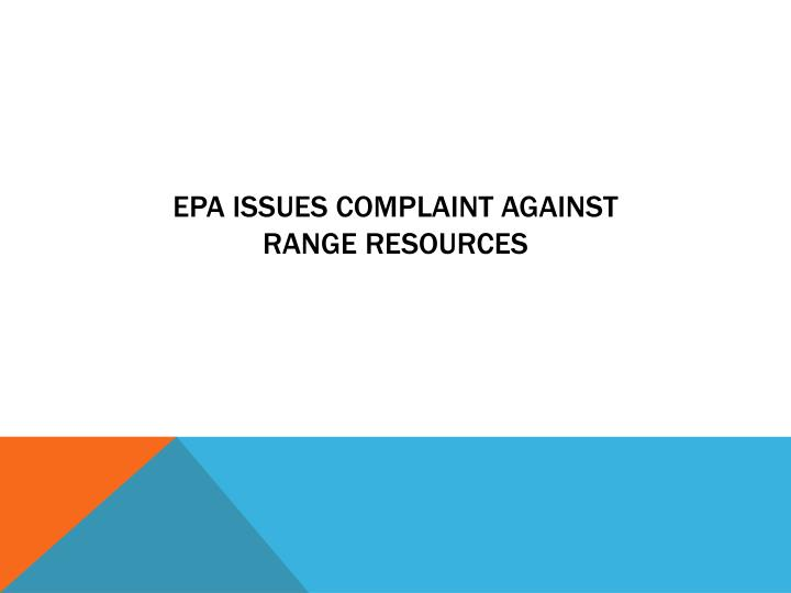 EPA issues complaint against