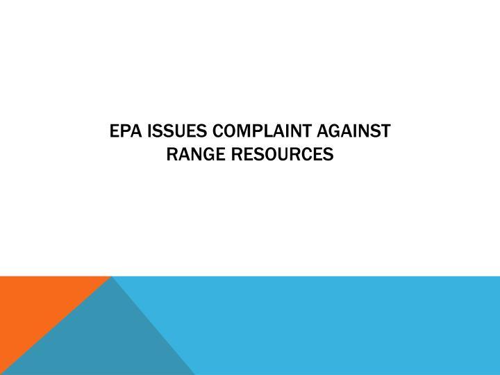 EPA issues complaint against