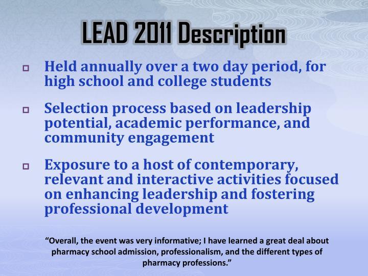 LEAD 2011 Description