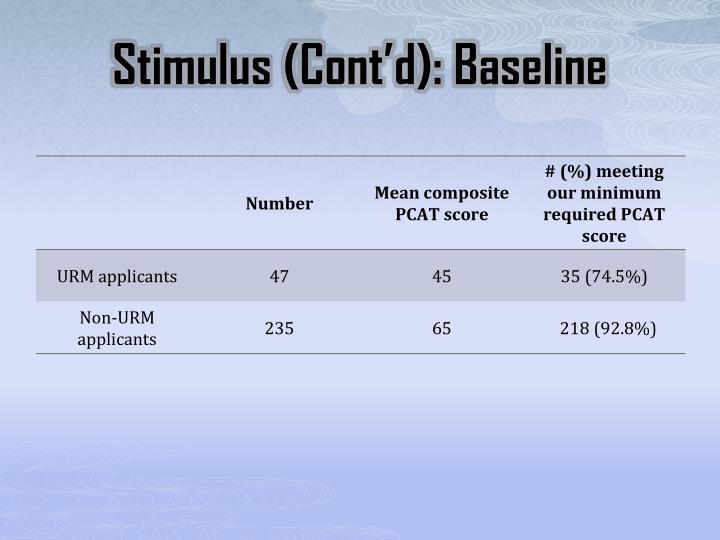 Stimulus (Cont'd): Baseline