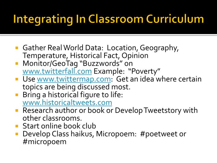 Integrating In Classroom Curriculum